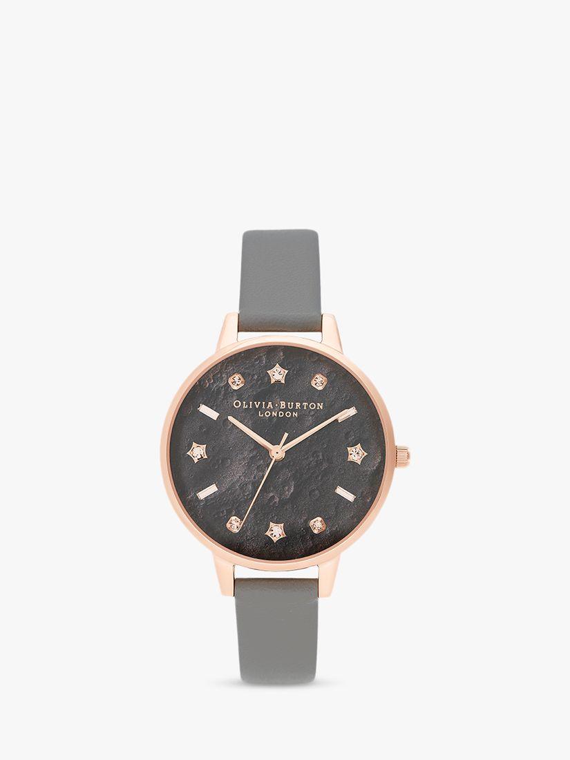 Olivia Burton Olivia Burton OB16GD55 Women's Celestial Faux Leather Strap Watch, Grey