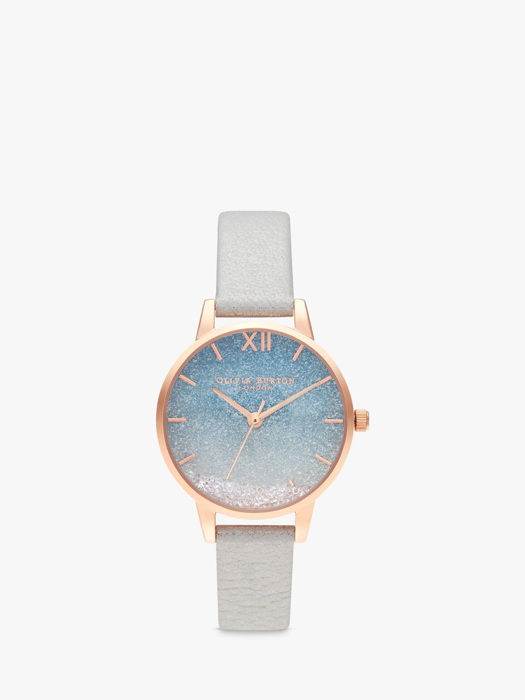 Olivia Burton Olivia Burton OB16US26 Women's Under The Sea Faux Leather Strap Watch, Grey/Glitter Blue