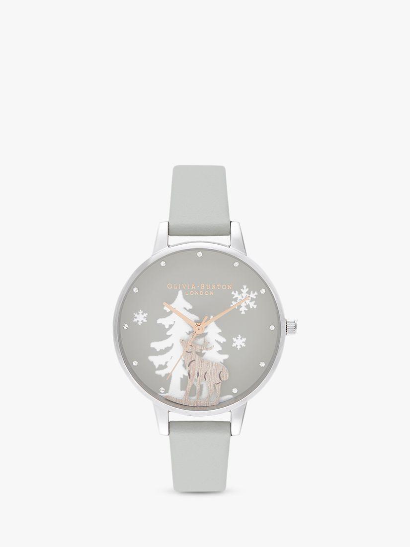 Olivia Burton Olivia Burton OB16AW02 Women's Winter Wonderland Faux Leather Strap Watch, Grey