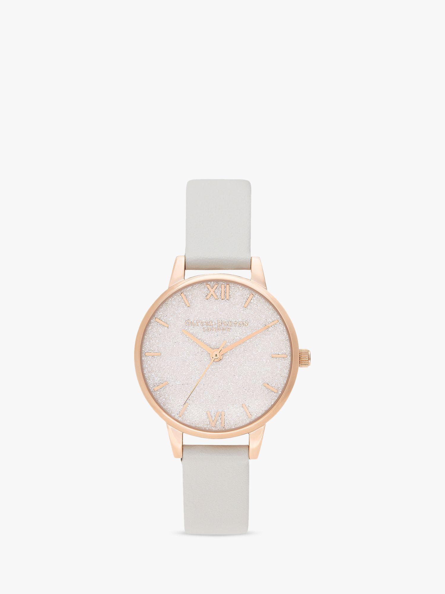 Olivia Burton Olivia Burton OB16GD50 Women's Celestial Faux Leather Strap Watch, Pale Grey/Blush
