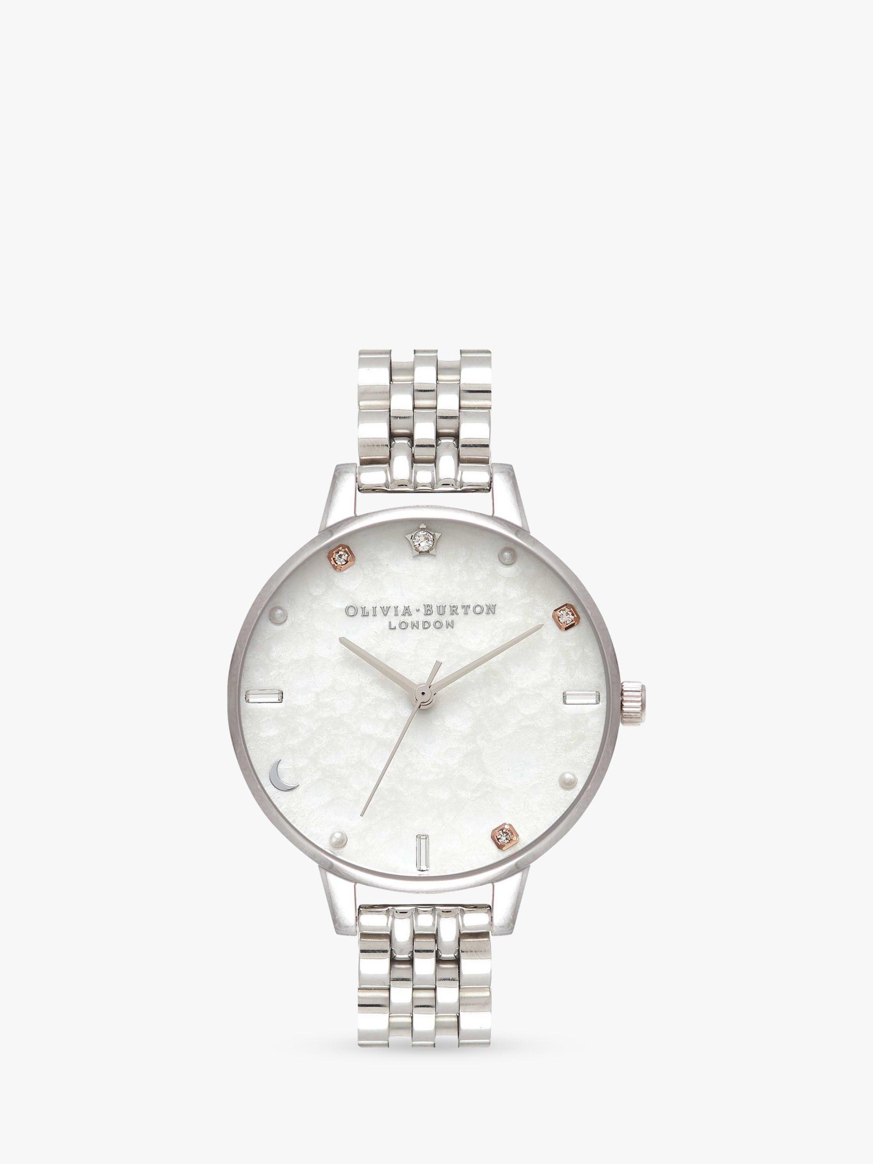 Olivia Burton Olivia Burton OB16GD30 Women's Celestial Bracelet Strap Watch, Silver/White