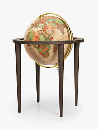 Nova Rico Queen Illuminated Freestanding Globe with Wood Stand, Brown, 50cm