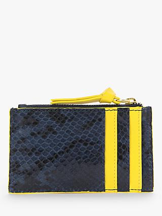 Boden Snake Print Leather Coin and Card Holder, Navy/Yellow