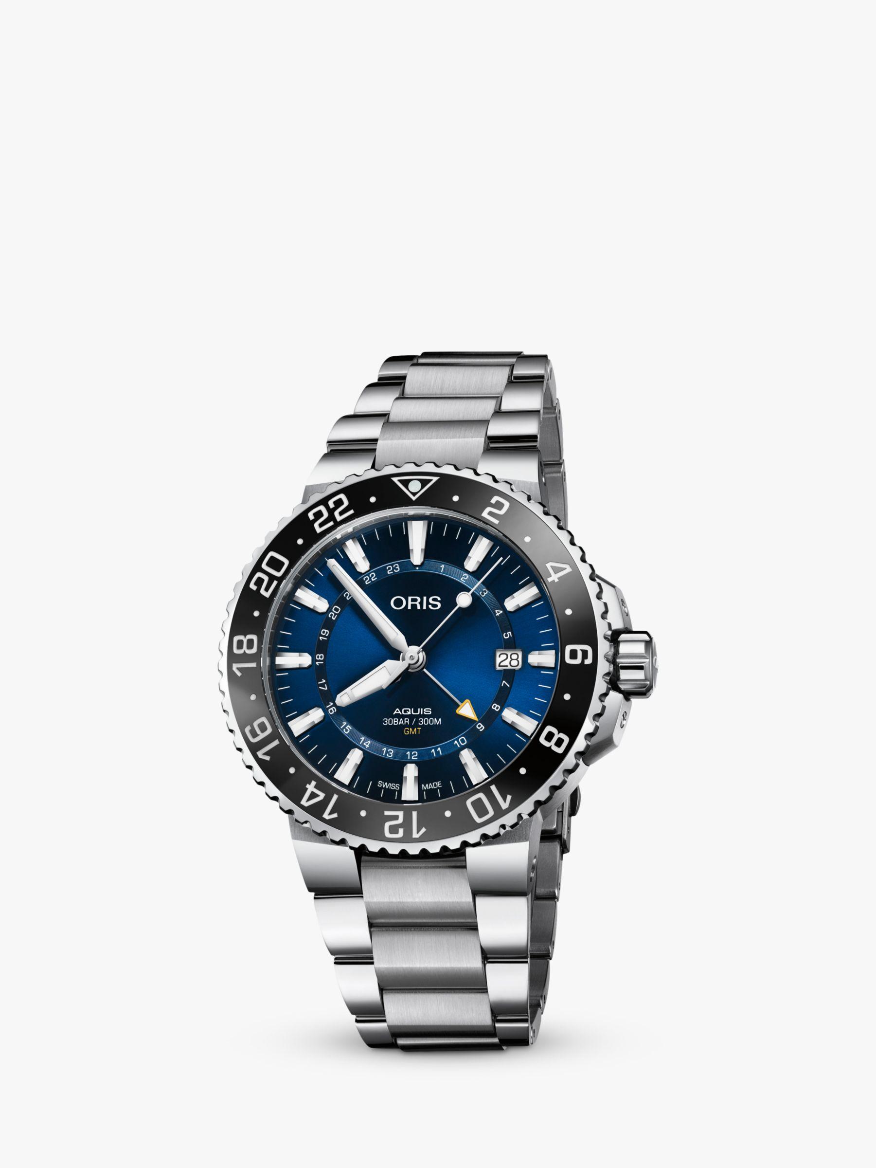 Oris Oris 79877544135-82405PEB Men's Aquis GMT Automatic Date Bracelet Strap Watch, Silver/Blue