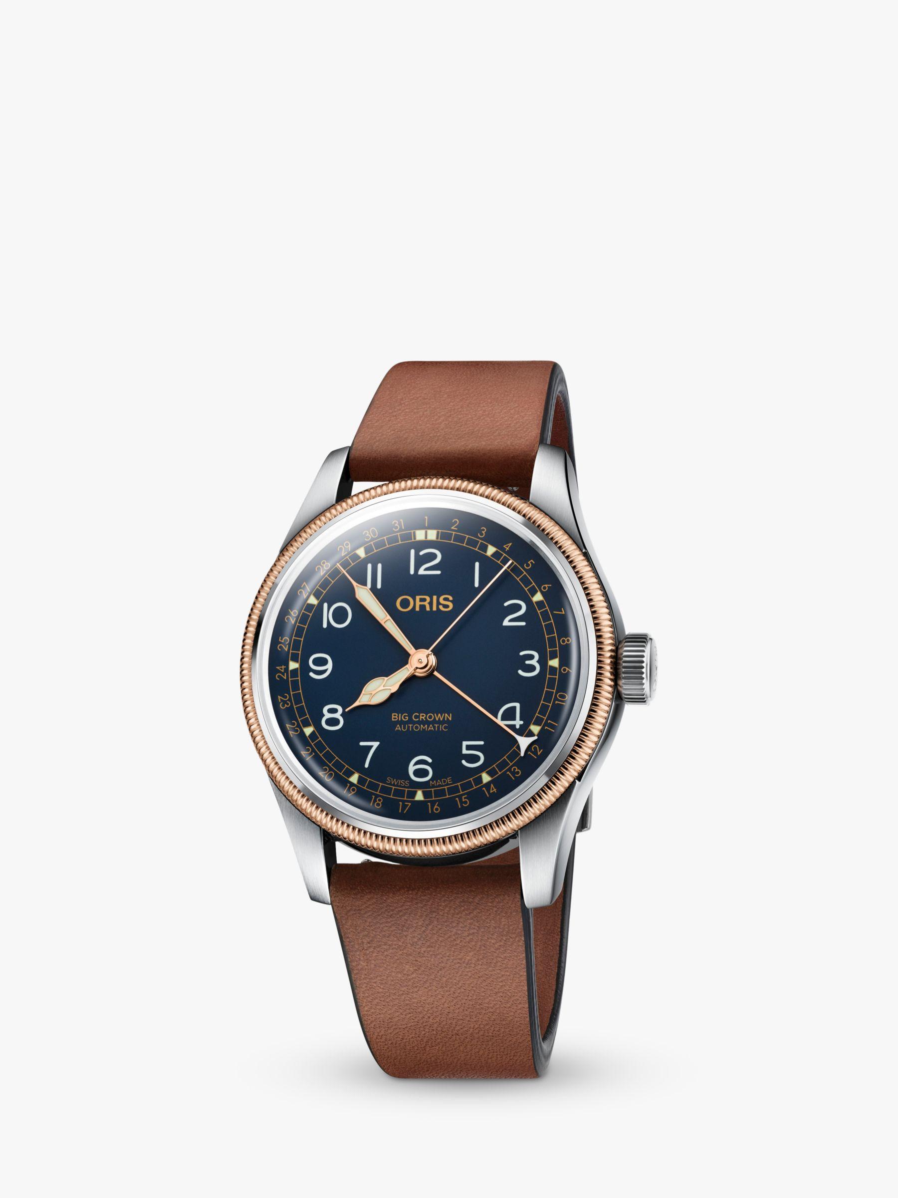 Oris Oris 754 7741 4365-52058BR Men's Big Crown Automatic Leather Strap Watch, Tan/Blue