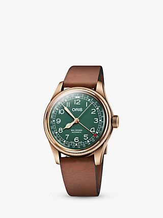 Oris 01 754 7741 3167-07 5 20 58BR Men's Big Crown Pointer Date 80th Anniversary Leather Strap Watch, Brown/Green