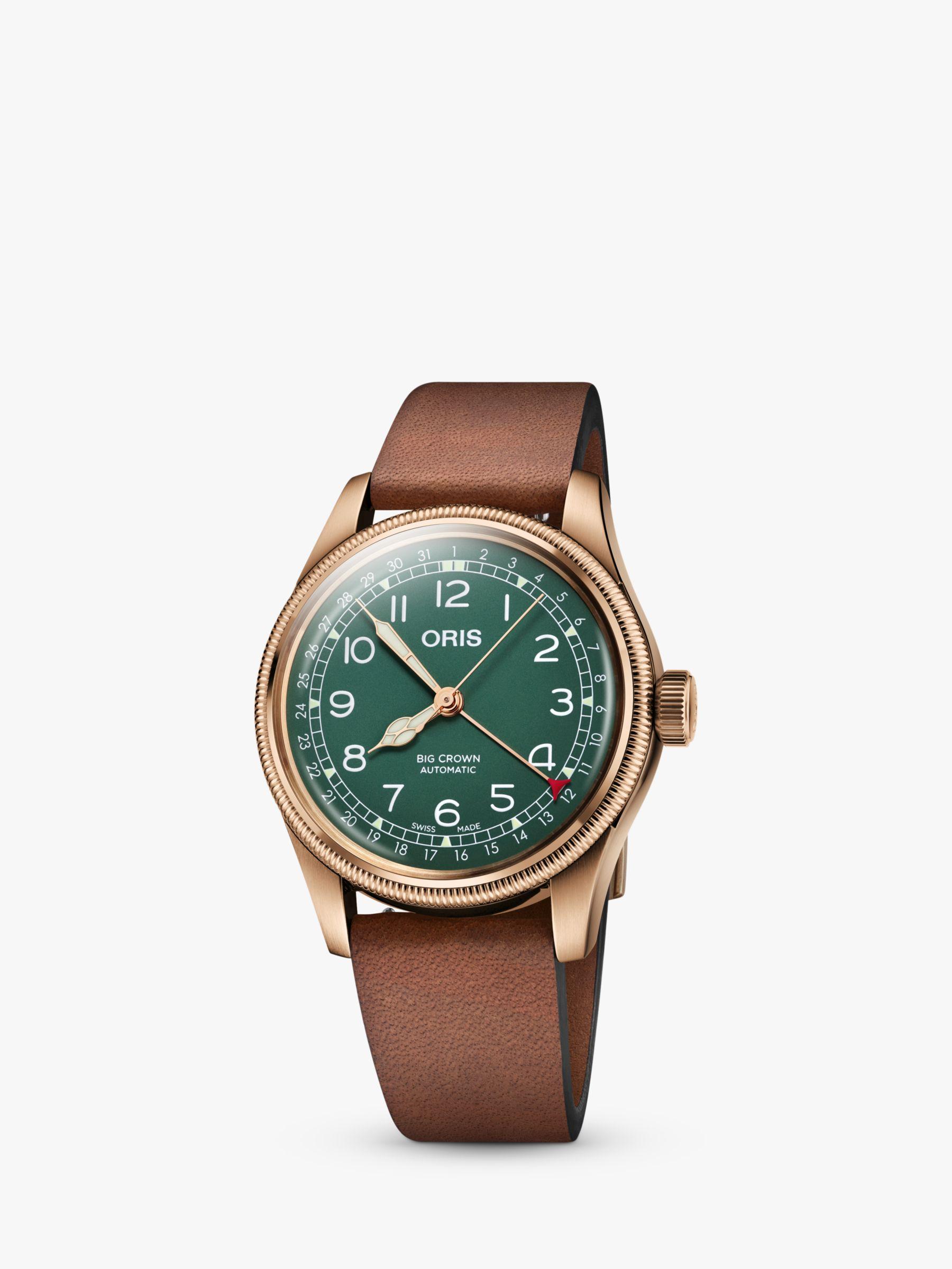 Oris Oris 01 754 7741 3167-07 5 20 58BR Men's Big Crown Pointer Date 80th Anniversary Leather Strap Watch, Brown/Green