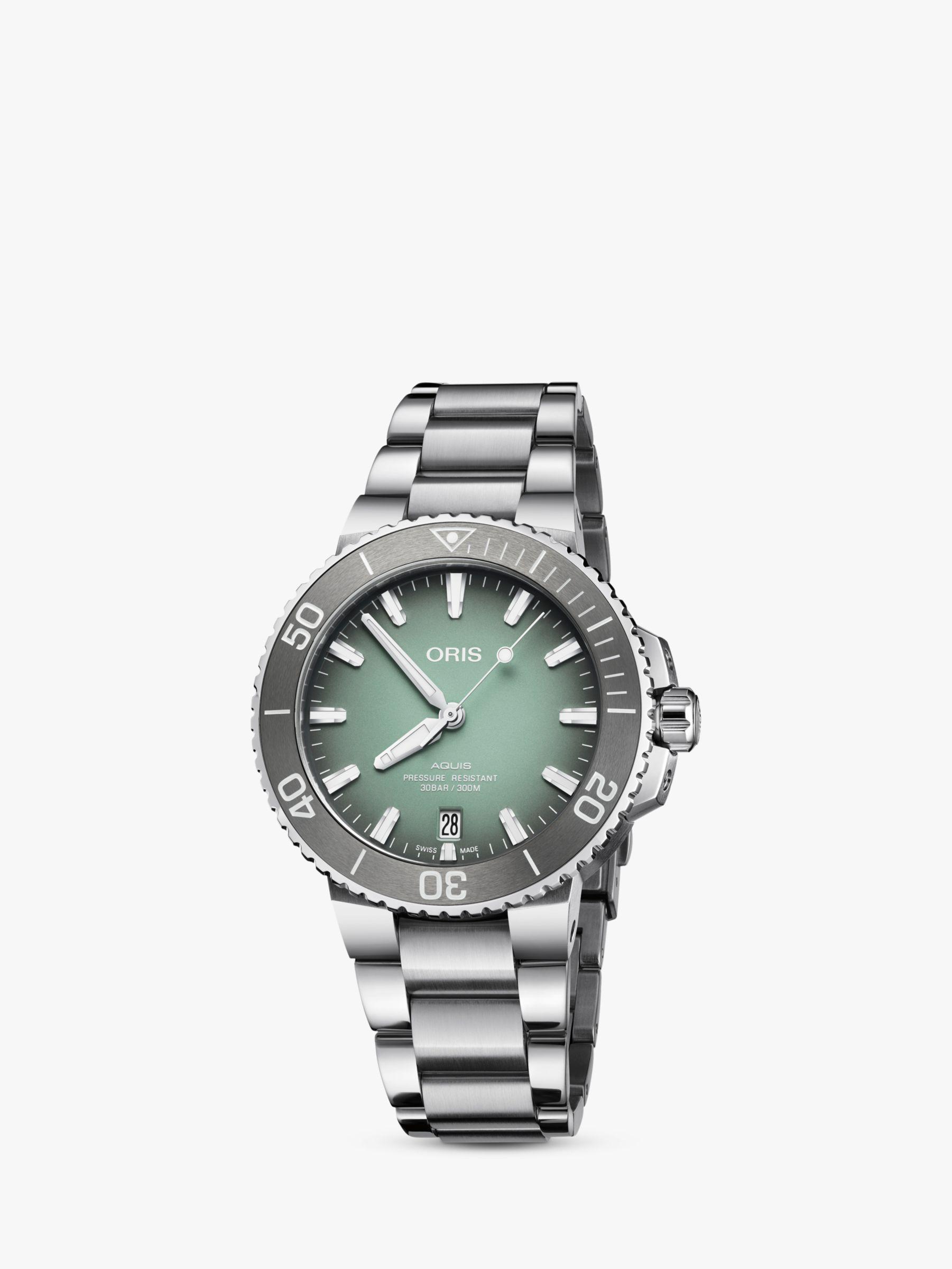 Oris Oris 73377324137-82105PEB Men's Aquis Automatic Date Relief Bracelet Strap Watch, Silver/Green