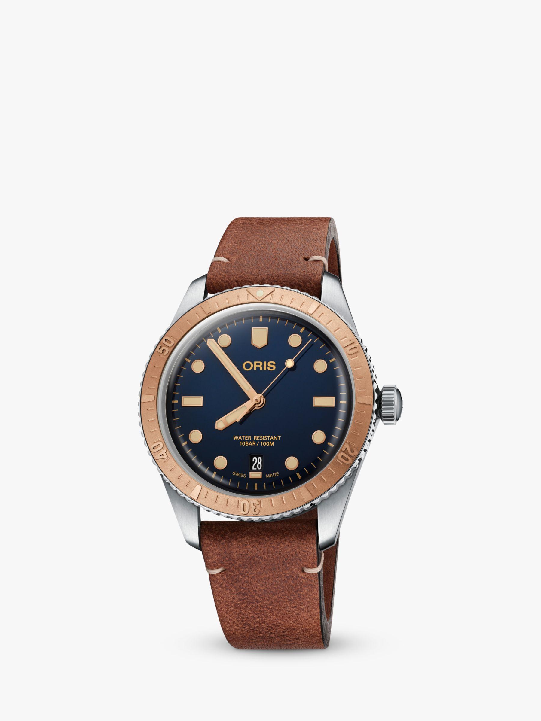 Oris Oris 73377074355-52045 Men's Divers 65 Automatic Date Leather Strap Watch, Brown/Blue