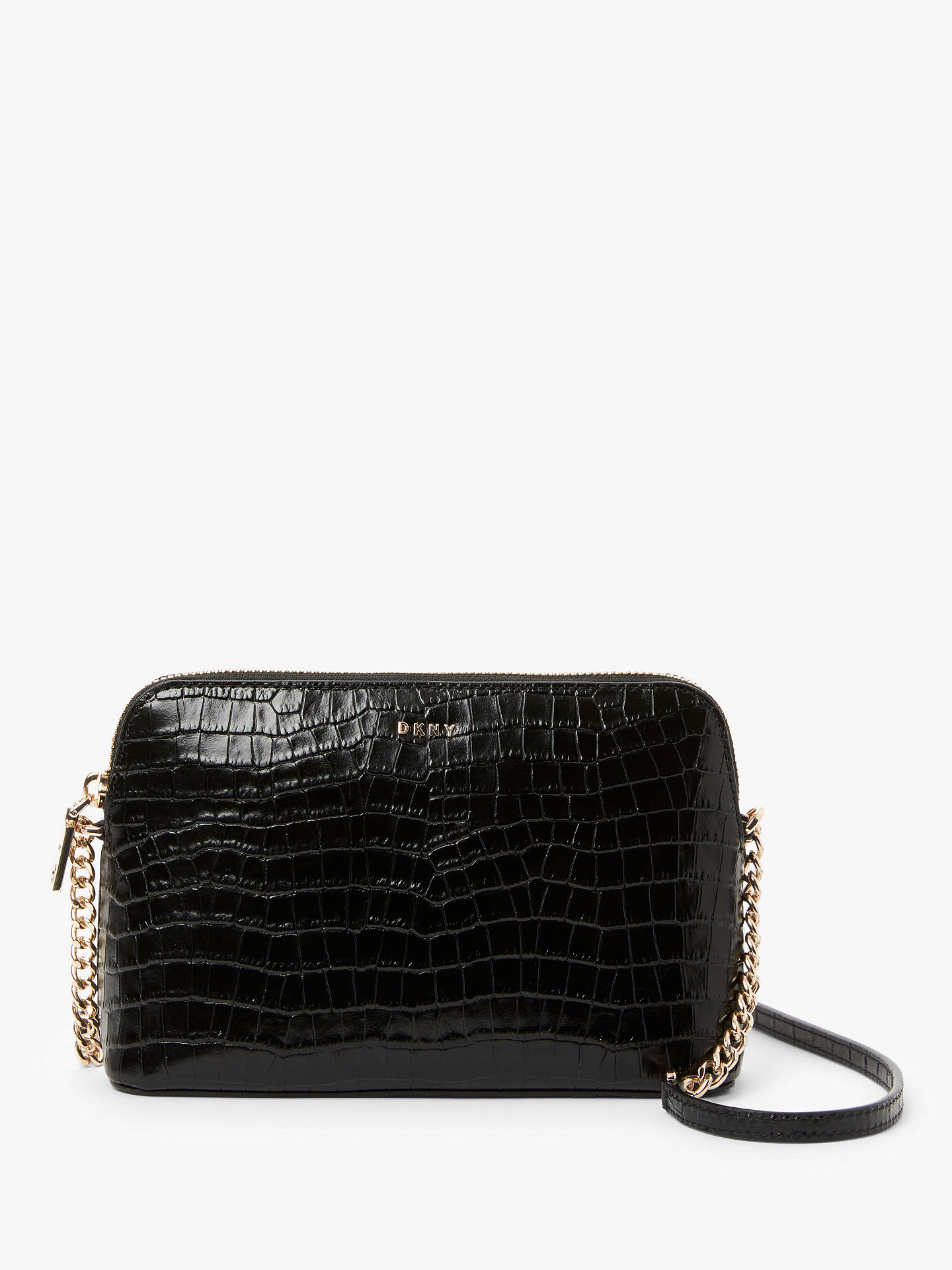 Dkny Bryant Dome Leather Cross Body Bag, Croc Black by Dkny