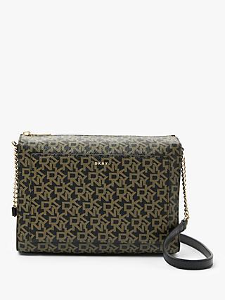 DKNY Bryant Logo Print Medium Box Top Zip Cross Body Bag