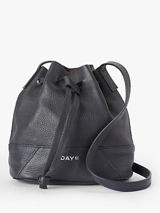 DAY et Shine Small Leather Bucket Bag, Navy