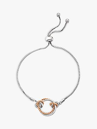 Hot Diamonds Unity Circle Chain Bracelet, Silver/Rose Gold