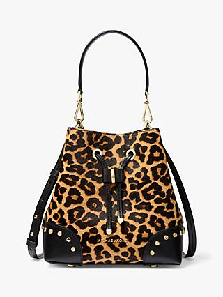 MICHAEL Michael Kors Mercer Gallery Hair Calf Leather Bucket Bag, Butterscotch Leopard