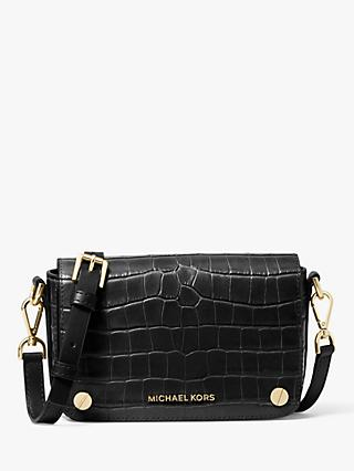 MICHAEL Michael Kors Small Jet Set Leather Cross Body Bag, Black