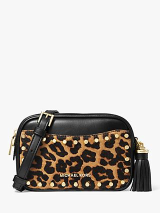 MICHAEL Michael Kors Jet Set Calf's Hair Leather Convertible Camera Bag, Leopard/Black
