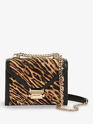 MICHAEL Michael Kors Whitney Animal Print Leather Shoulder Bag, Butterscotch