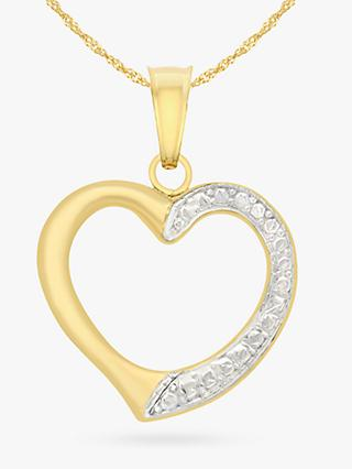 IBB 9ct Gold Textured Heart Pendant Necklace, Gold