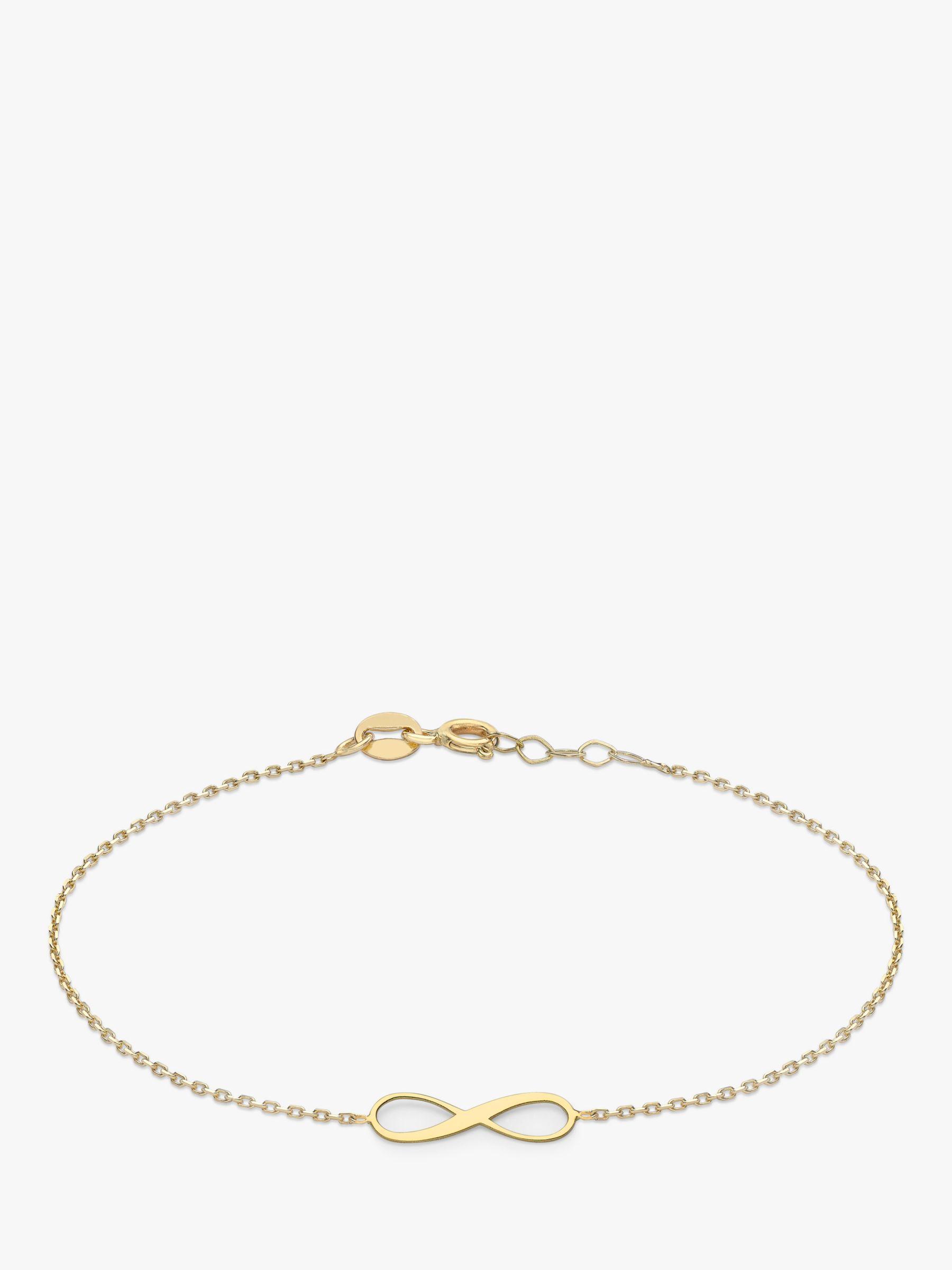 IBB IBB 9ct Gold Infinity Chain Bracelet, Gold