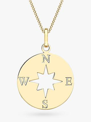 IBB 9ct Gold Compass and Cut Out Star Pendant Necklace, Gold