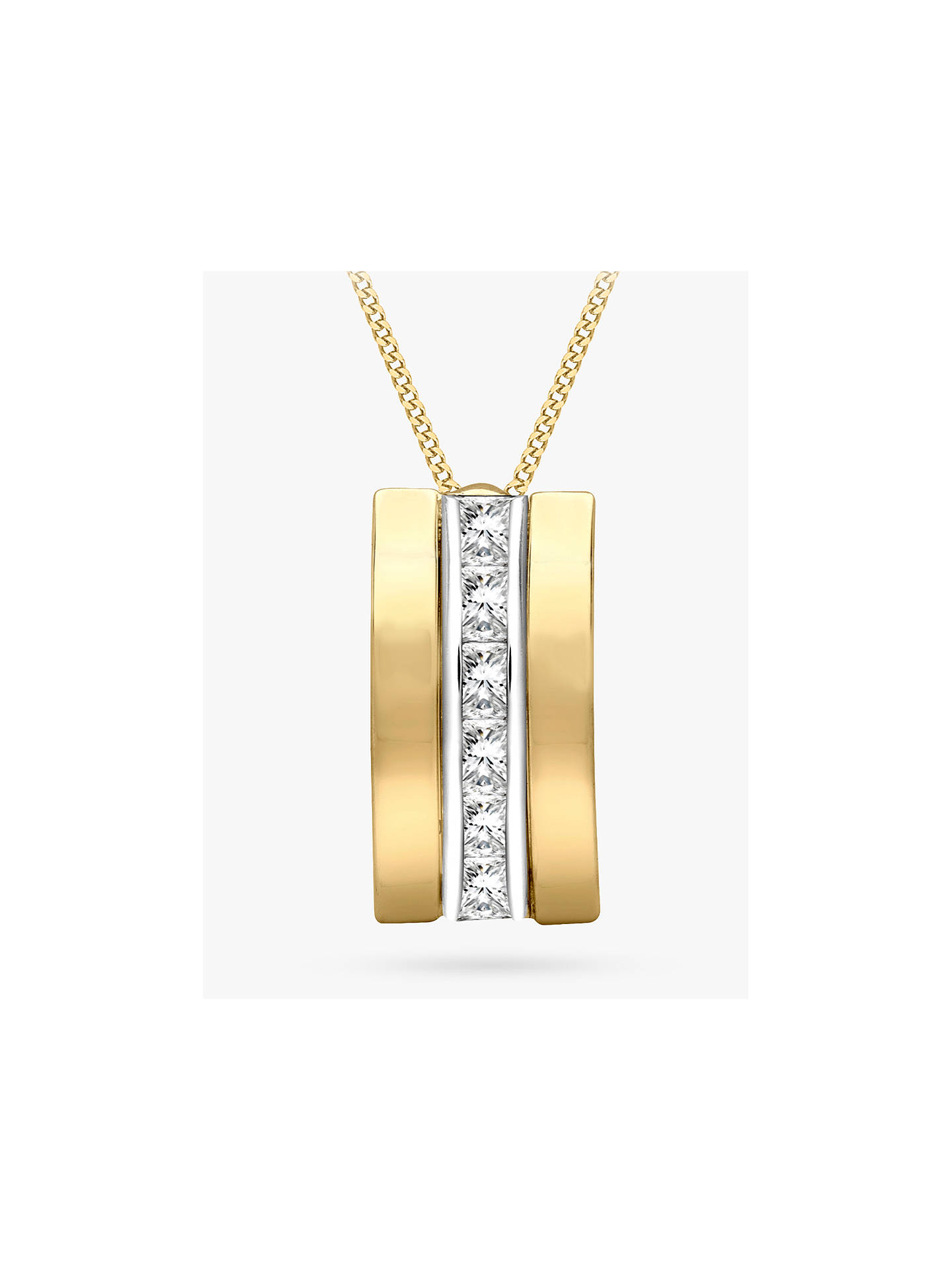 Buy IBB 9ct Gold Cubic Zirconia Curved Pendant Necklace, Gold Online at johnlewis.com