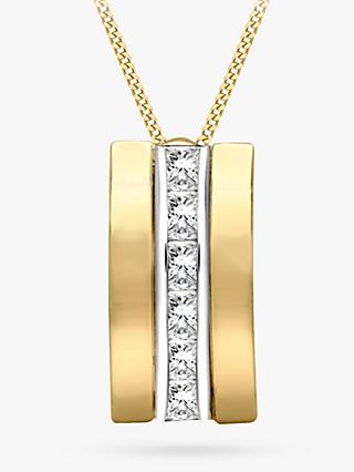 IBB 9ct Gold Cubic Zirconia Curved Pendant Necklace, Gold