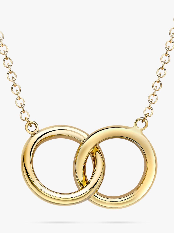 IBB IBB 9ct Gold Linked Ring Pendant Necklace, Gold
