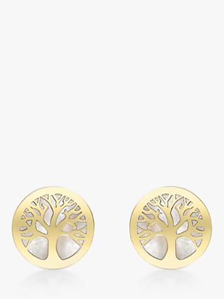 IBB 9ct Gold Mother of Pearl Tree of Life Round Stud Earrings, Gold