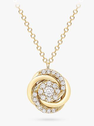 IBB 9ct Gold Cubic Zirconia Rose Pendant Necklace, Gold