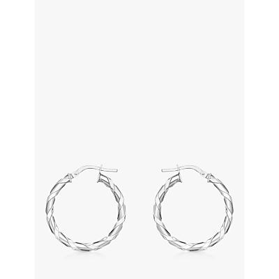 IBB 9ct White Gold Twist Hoop Earrings