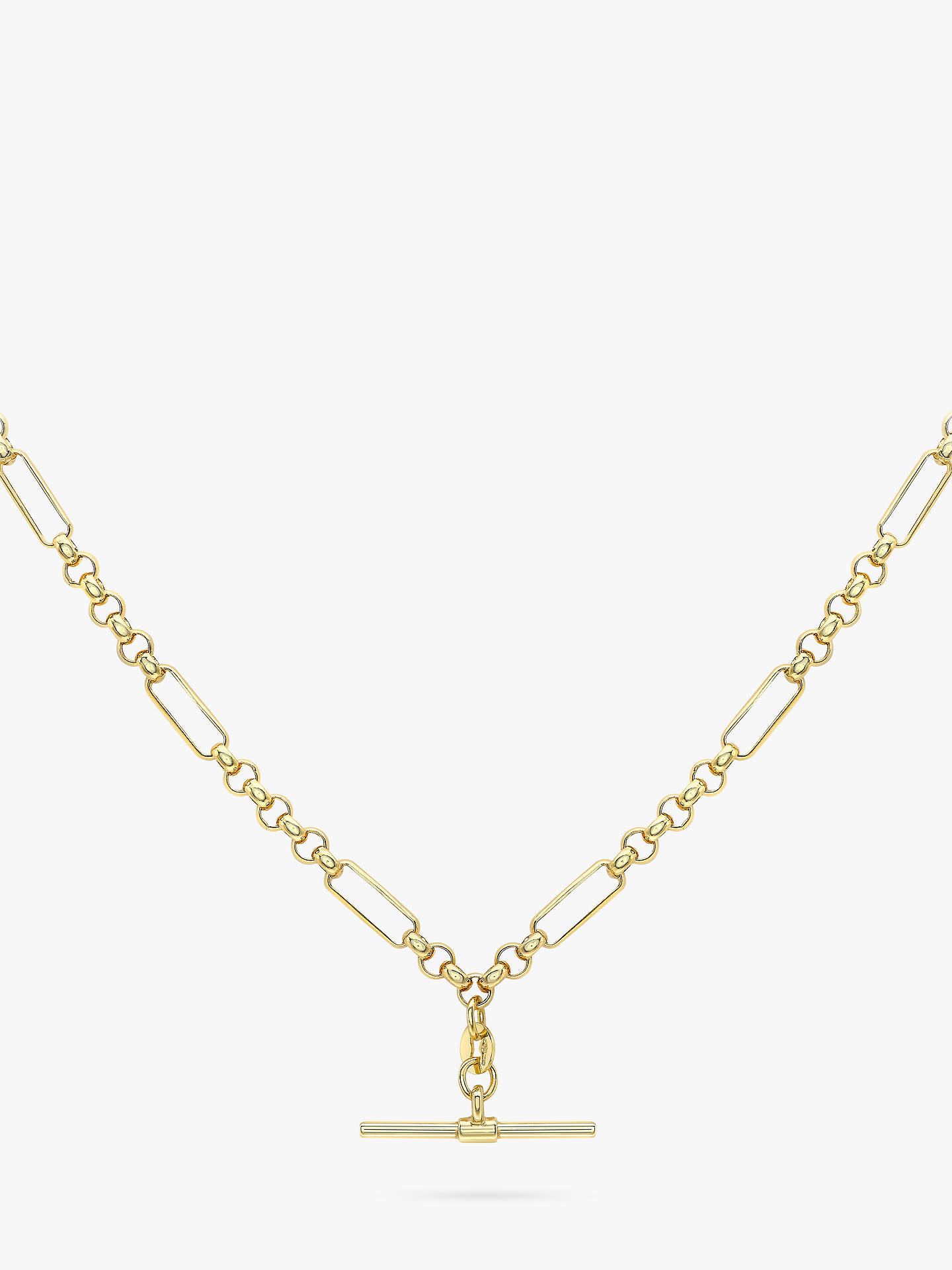 69bdb3532e58f IBB 9ct Gold T-Bar Figaro Chain Necklace, Gold
