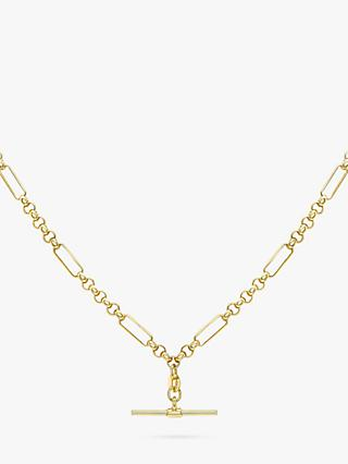 IBB 9ct Gold T-Bar Figaro Chain Necklace, Gold