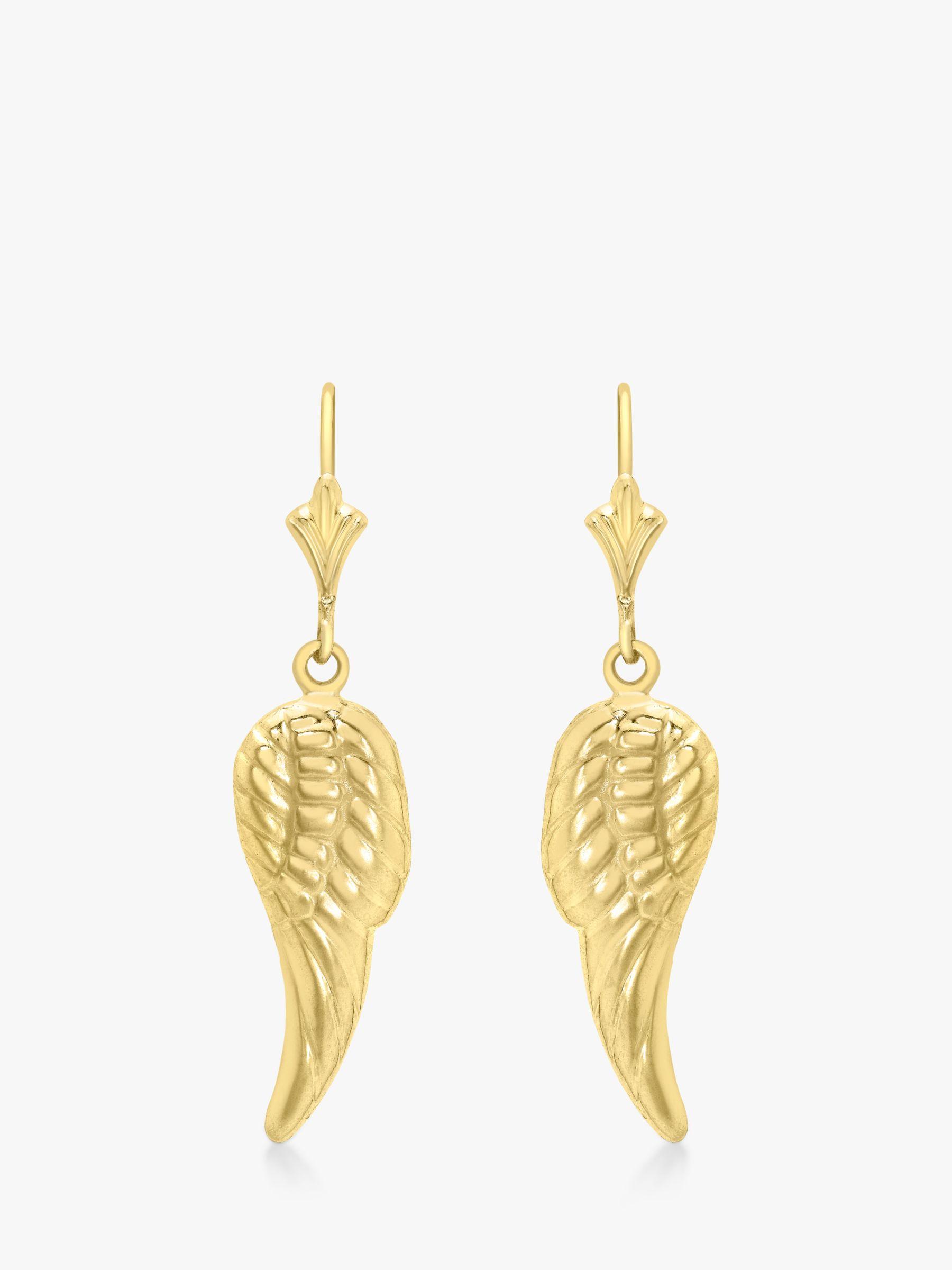IBB IBB 9ct Gold Angel Wing Drop Earrings, Gold