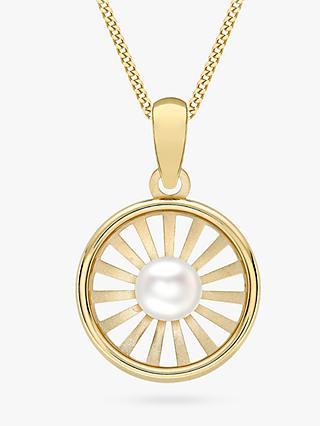 IBB 9ct Gold Freshwater Pearl Sunray Pendant Necklace, Gold