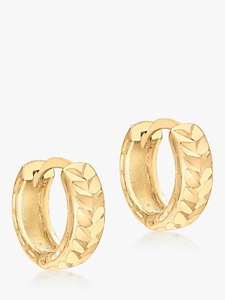 IBB 9ct Gold Diamond Cut Small Hoop Earrings, Gold
