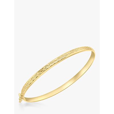 IBB 9ct Gold Diamond Cut Hinged Bangle, Gold