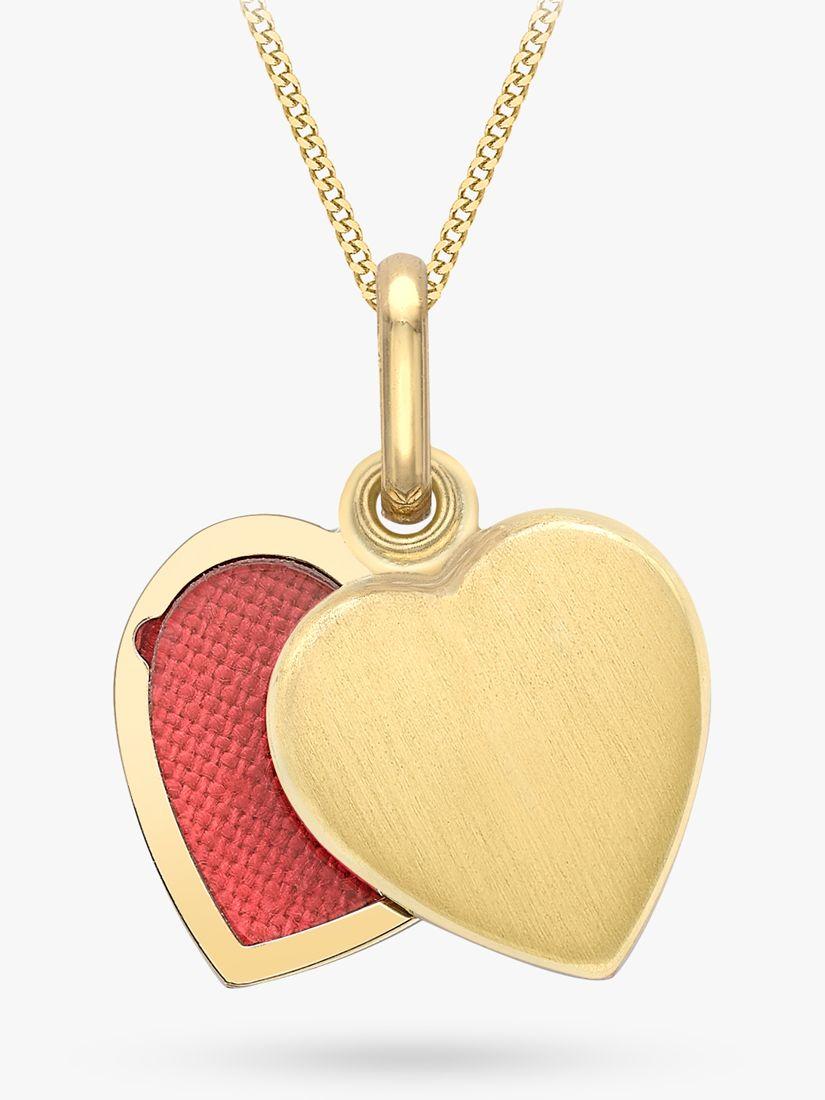 IBB IBB 9ct Gold Brushed Heart Locket Pendant Necklace, Gold