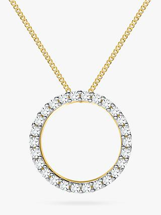 IBB 9ct Gold Cubic Zirconia Circle Pendant Necklace, Gold