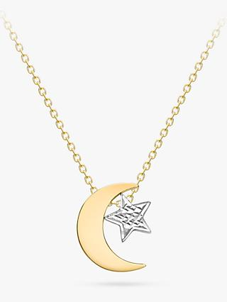 IBB 9ct Yellow and White Gold Moon and Textured Star Pendant Necklace