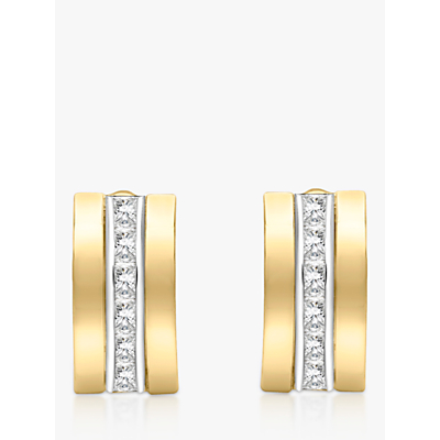 IBB 9ct Gold Cubic Zirconia Curved Stud Earrings, Gold