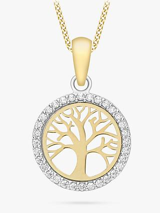 IBB 9ct Gold Tree of Life Cubic Zirconia Pendant Necklace, Gold