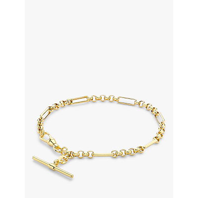 IBB 9ct Gold T-Bar Figaro Chain Bracelet, Gold