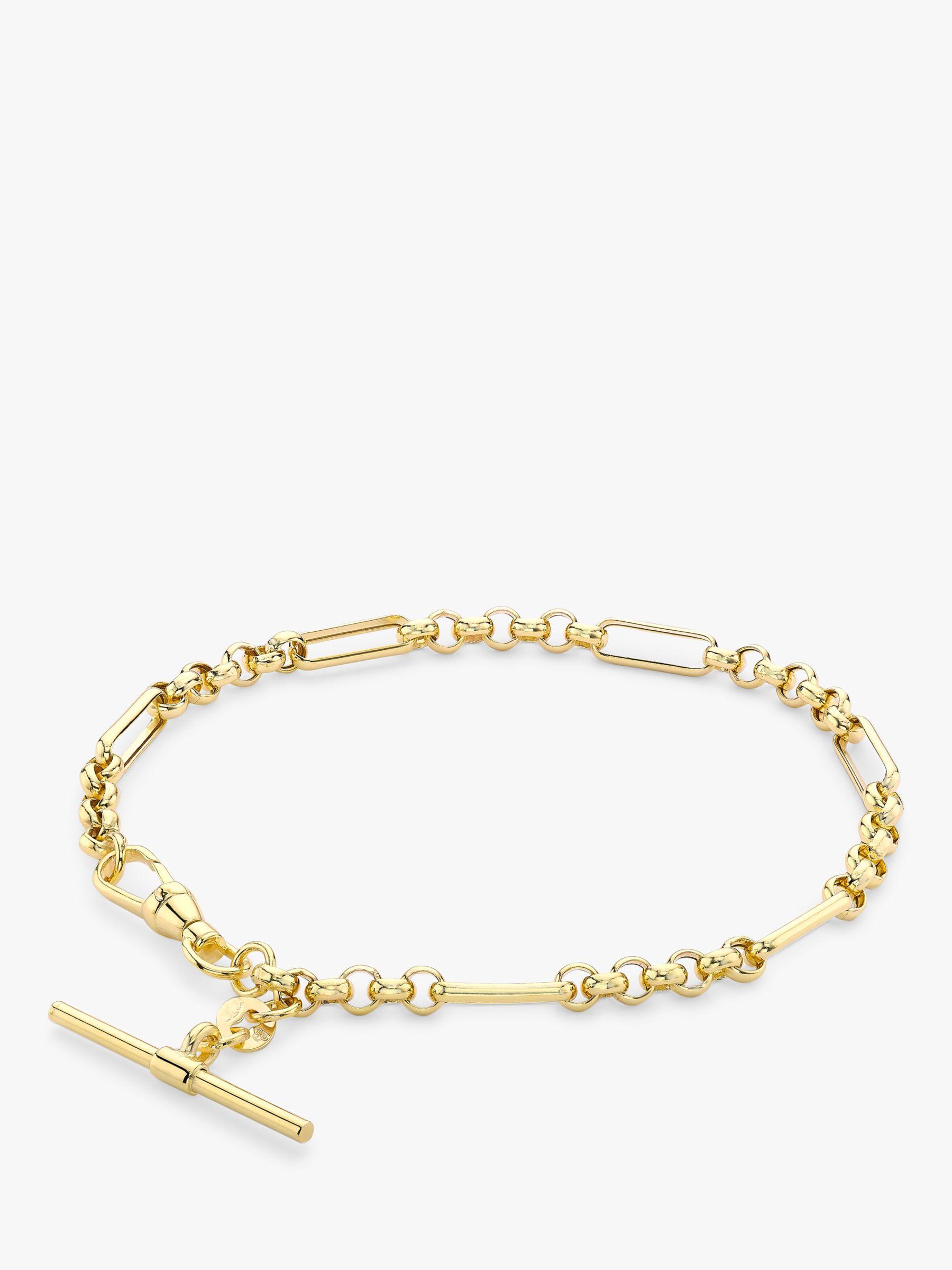 IBB IBB 9ct Gold T-Bar Figaro Chain Bracelet, Gold