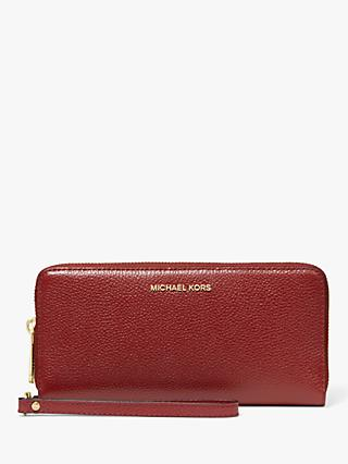 MICHAEL Michael Kors Jet Set Travel Continental Leather Zip Around Purse, Brandy