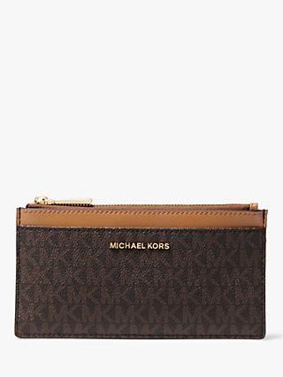 MICHAEL Michael Kors Jet Set Logo Travel Zip Top Leather Card Purse, Brown/Acorn
