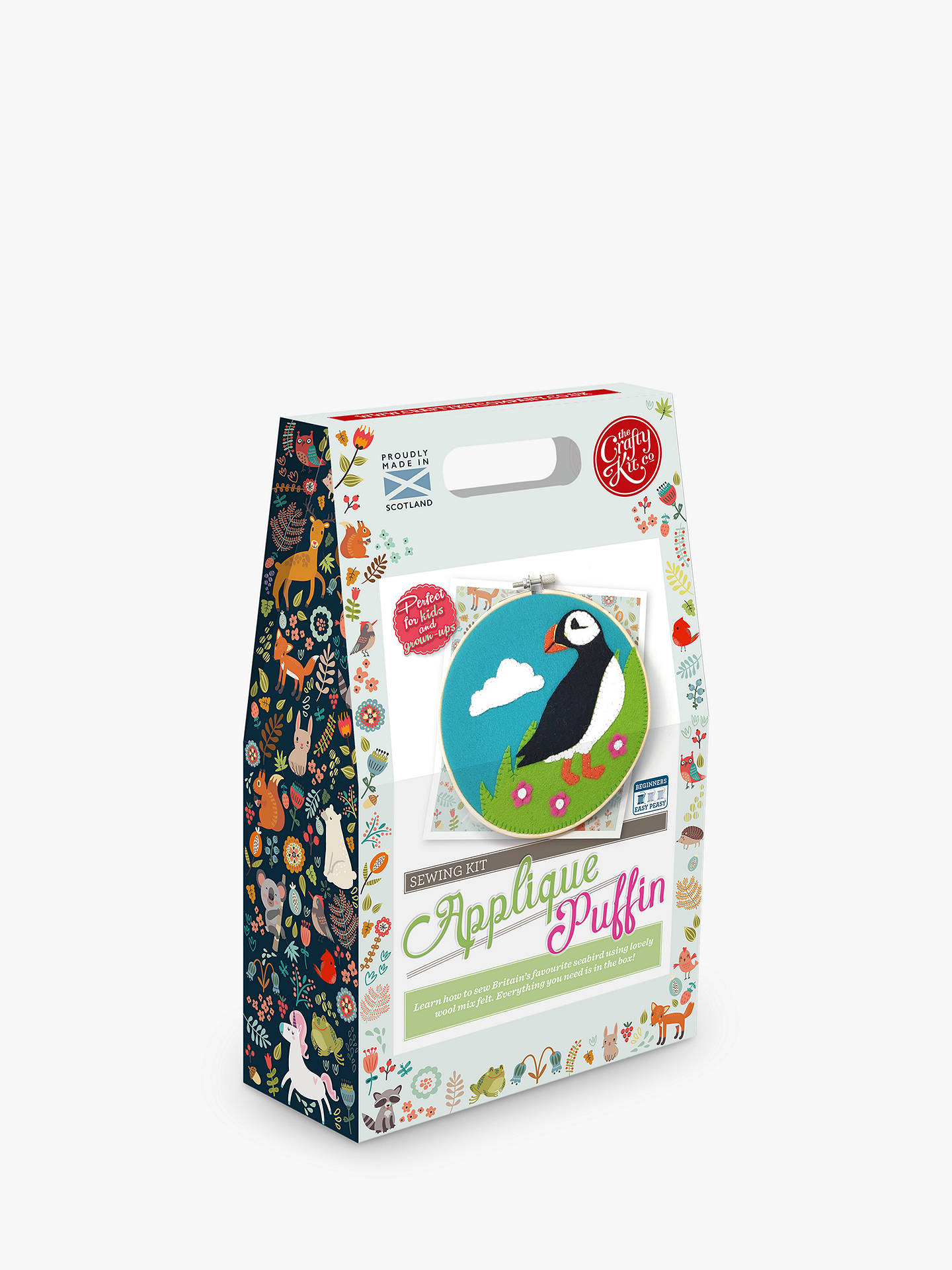 The Crafty Kit Company Felt Applique Puffin Hoop Sewing Kit