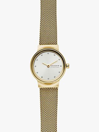 Skagen SKW1108 Women's Freja Mesh Bracelet Watch and Chain Bracelet Gift Set, Gold/White
