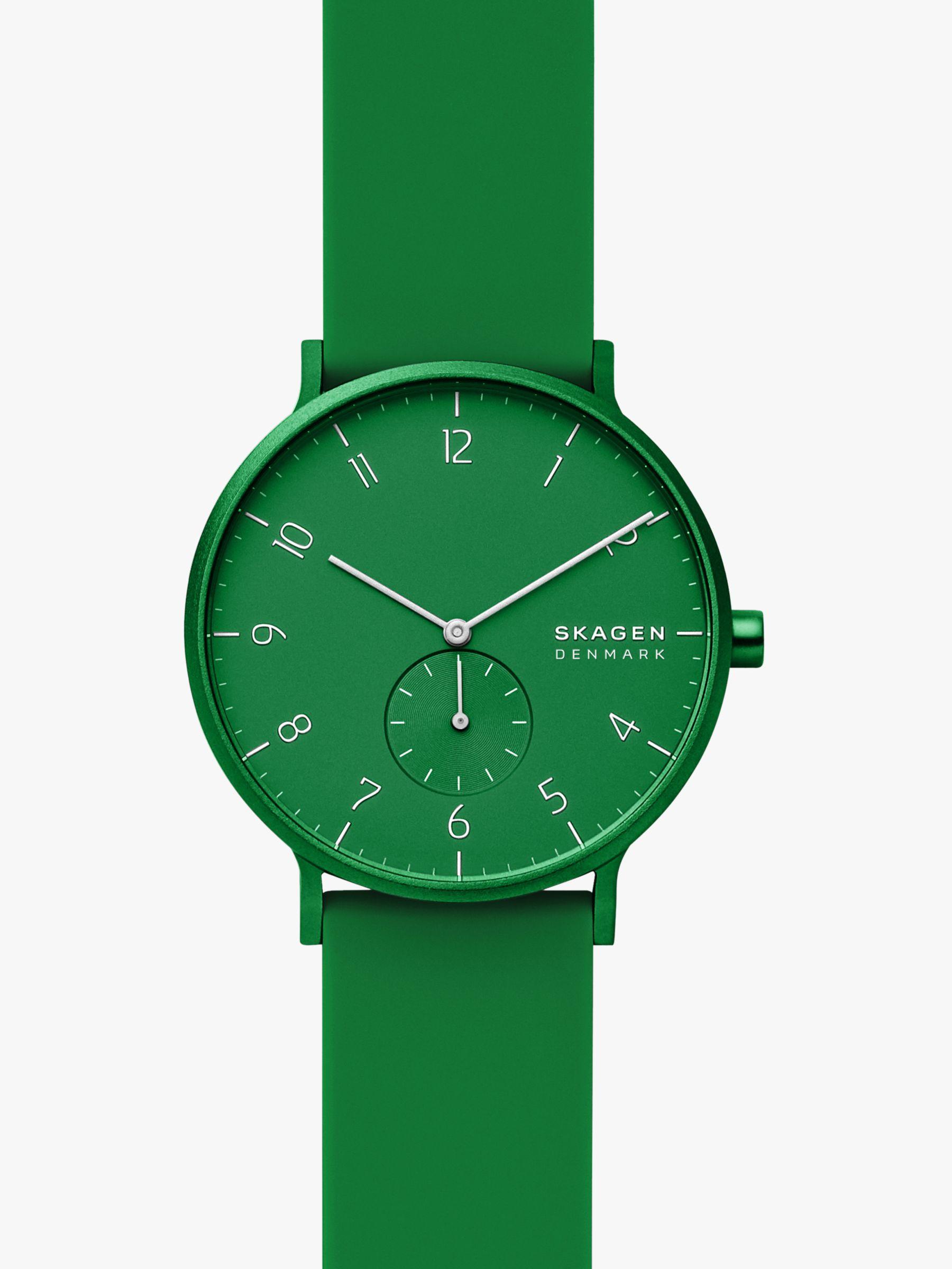 skagen Skagen Unisex Aaren Kulor Silicone Strap Watch, Green SKW6545