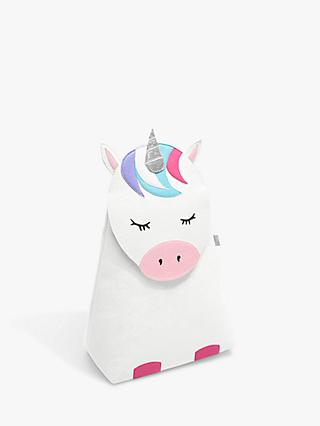 Little Stackers Lola Unicorn Laundry Storage Bucket, White/Multi