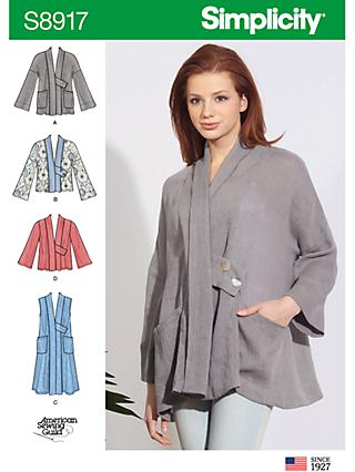 Simplicity Women's Swing Jackets Sewing Pattern, 8917